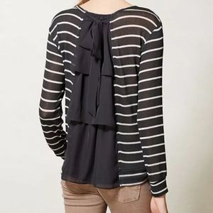 Clu + Willoughby // Anthro Striped Bow Gray Top